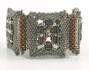 Deco Jewels beadweaving bracelet: Instant Downloadable Pattern PDF File