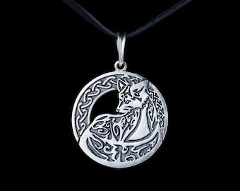 Ethnic Fox Pendant, sterling silver, handmade ... tribal fox, celtic fox, celtic knot
