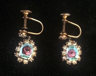 1920s HAND PAINTED Flower Screw Back Earrings