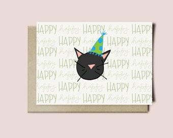 Cat Birthday Card / Happy Birthday Card / Black Cat Birthday Hat Card / Cat Lady Birthday Card