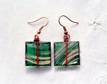 Square Glass Tile Earrings in Recycled Copper Green Gold Dichroic Glass Earrings Glass Jewelry Handmade Jewelry Made in Israel Free Shipping