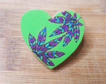 Marijuanna Accessories Valentine's Day Gift for Him Gift for Her Wood Brooch Pin Green