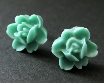 Turquoise Flower Earrings. Turquoise Lotus Rose Earrings. Post Earrings. Turquoise Earrings. Silver Stud Earrings. Handmade Jewelry