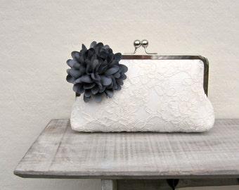 Gray clutch, ivory lace bridal clutch, wedding clutch with grey flower, gray bridesmaid clutch, lace clutch, grey wedding, bridesmaid gift