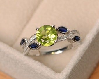 Natural peridot ring, leaf ring, peridot engagement ring, sterling silver