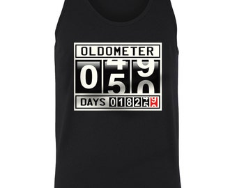 Oldometer 50 Old Age Funny Gag Birthday Gift Idea Time Aging Fifty Juniors Women Tank Top SF_0298