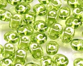 22.5 grams-2.5x5mm Superduo Olivine White Luster Bead, Twin Bead, Superduo Lime Green Bead, Bead Weaving, Two Hole Seed Bead, Green Superduo