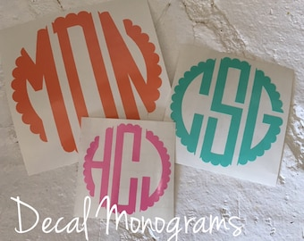 Scalloped Monogram/ Circle Monogram/ Monogram Sticker/ Scalloped Decal