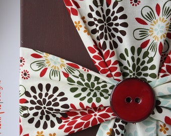 Handmade Fabric Cross Canvas Wall Hanging Brown Red Ivory