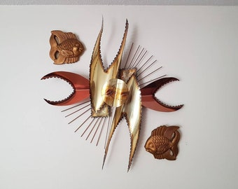 Large Abstract BRUTALIST Metal Wall Sculpture, Mid Century Decor, Wall Hanging, Mid Mod Style, Copper and Bronze colour.