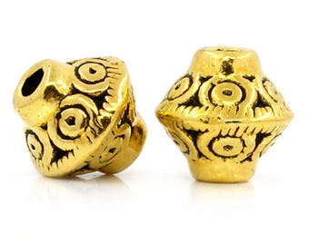 Spacer bead, Zinc Alloy Bicone aged gold, 7mm x 6mm, set of 10