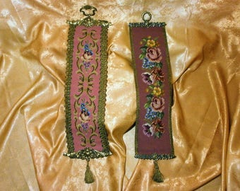 Victorian Baroque style needle point bell pull, wall tapestry, sculpted bronze ends,vintage