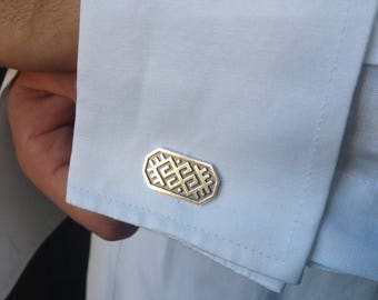 Silver cuff links with Latvian ancient symbol
