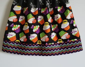 Girls size 6 Halloween Skirt Girls Skirt Three Fabric Skirt Halloween Cupcakes Skeletons Chevron Fall Skirt Halloween Clothes OOAK Skirt