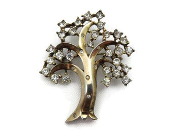 Trifari Tree Brooch - 1940s 1950s Rhinestone Flowering Tree Alfred Philippe Costume Jewelry