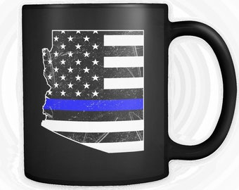 Customizable | Thin Blue Line | American Flag | Arizona |  Police Officer Family Support Distressed Coffee/Tea Mug