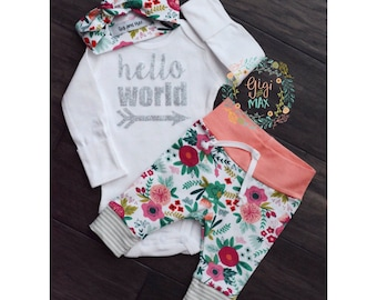 Baby girl coming home outfit hello world Coral Floral theme hello world baby shower gift new baby set going home hospital outfit