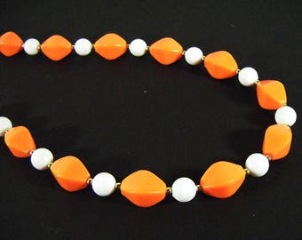 Vintage 60's Orange and White Beaded Necklace
