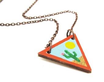 Desert Cactus Wood Triangle Necklace