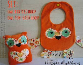 OWL soft toy & bib SET - 6x10 and 7x12 hoop needed - ITH - In The Hoop - Machine Embroidery Design File, digital download