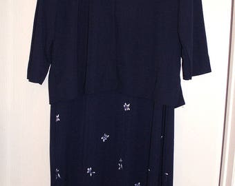 Vintage Long Maxi DRESS & JACKET Size M Easy Care Polyester