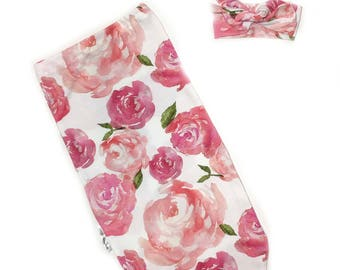 READY TO SHIP, Roses Swaddle Set, Flowers Cocoon Sack, Floral swaddle,Swaddle Sack, Floral Baby Sleeping Sack, flower swaddle, baby swaddle,