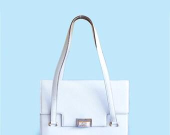 Vintage Celine white leather handbag