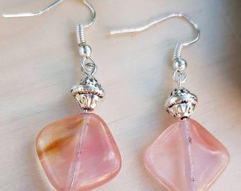 Earrings with stone beads gemstone pink tourmaline on silver bracket.