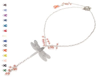 Strawberry Delight - Back Drop Necklace - Dragonfly Necklace - Inspirational Necklaces - Silver Jewelry