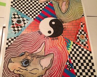 Sphynx Cat Love Mixed Media Drawing