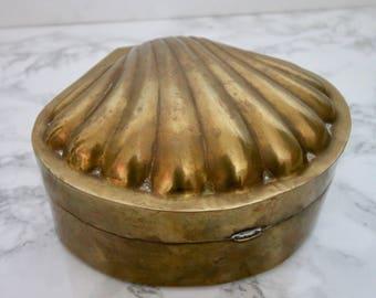 LARGE Vintage Brass Sea Shell Hinged Jewelry Box Trinket