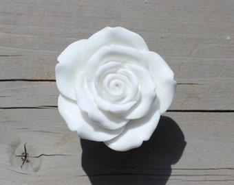 White Flower Drawer Knobs - Rose Cabinet Knobs (RFK14-08)