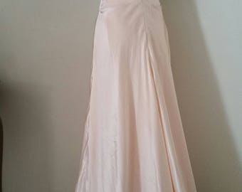 30s look evening gown, blush peach colour, 30s look wedding dress, 80s does 30s, slimline long dress