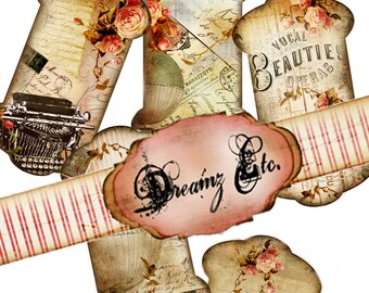 """Digital  """"Vintage Love Story"""" - Tags, Great for Scrapbooking, Journals, Card Making and Mixed Media Projects"""