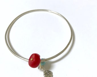 Coral, Turquoise Sterling silver Bangle, Gifts for Her, Gifts for Mom, Lilyb444, Modglam,