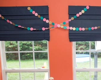 Pink/Teal/Gold  glitter circle dot banner,Wedding Garland, Birthday Decor, Wedding Decor, Garland, Birthday decor,bridal baby shower decor