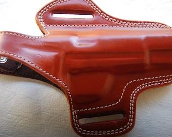 Browning hi power Handcrafted Leather Belt Holster Black Tan