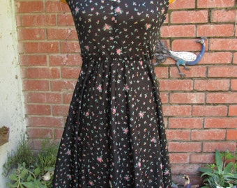 little black and floral semi sheer dress