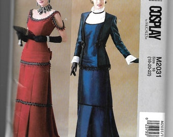 M2031 McCall's Victorian Pleated Dress and Jacket Sewing Pattern Sizes 18-22