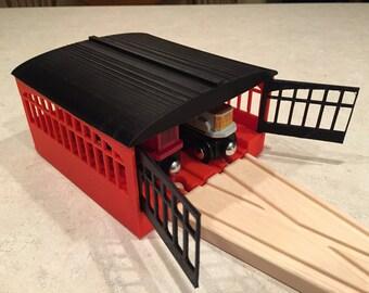Wooden Train Set 3D Printed Locomotive Garage