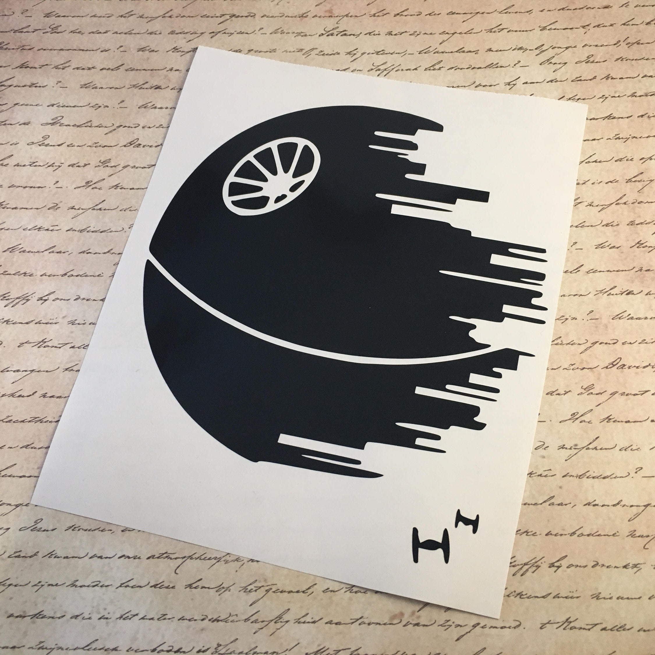 death star vinyl decal star wars decal death star sticker. Black Bedroom Furniture Sets. Home Design Ideas