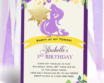 Princess Rapunzel Tangled Birthday Invitation | Tangled Party Invitation | Tower Purple Gold Silhouette | Digital Printable Invitation