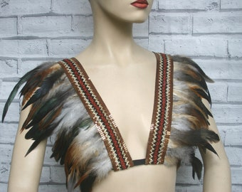FESTIVAL CLOTHING, TRIBAL feather shrug, boho, burning man, body harness, brown feather shrug, bralette, tribal, feather capelet, carnival