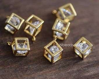 4pcs Gold plated Brass Cube Charms 8mm with Rhinestone Inside  (GB-042)