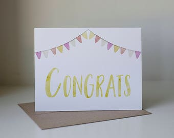 Congrats Card, Congratulations Card, Watercolor Card, Graduation Card, Congrats Cards, Promotion Card, Grad Card, Blank Congrats