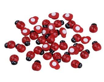 Wood Ladybug Adhesive Beads, Cabachons, Embellishment