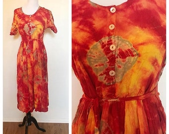 SHOP SALE Vintage Burnt Orange Tie Dye  Batik Maxi Dress