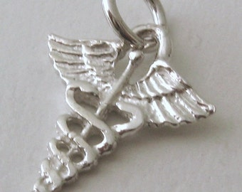 Genuine SOLID 925 STERLING SILVER Caduceus Medical Symbol  charm/pendant