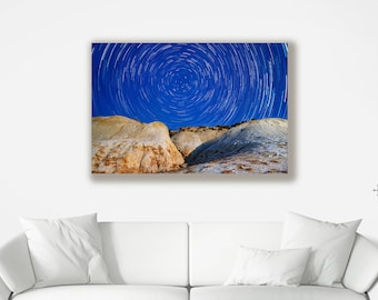 Bright Starry Night Landscape Canvas - Various Sizes of Wall Art available
