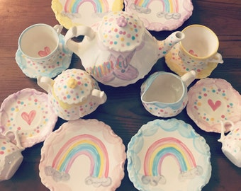 Unicorns & Rainbows Tea set Personalized for Little girls //  child's sized Tea Set, Handpainted, Custom, Personalized